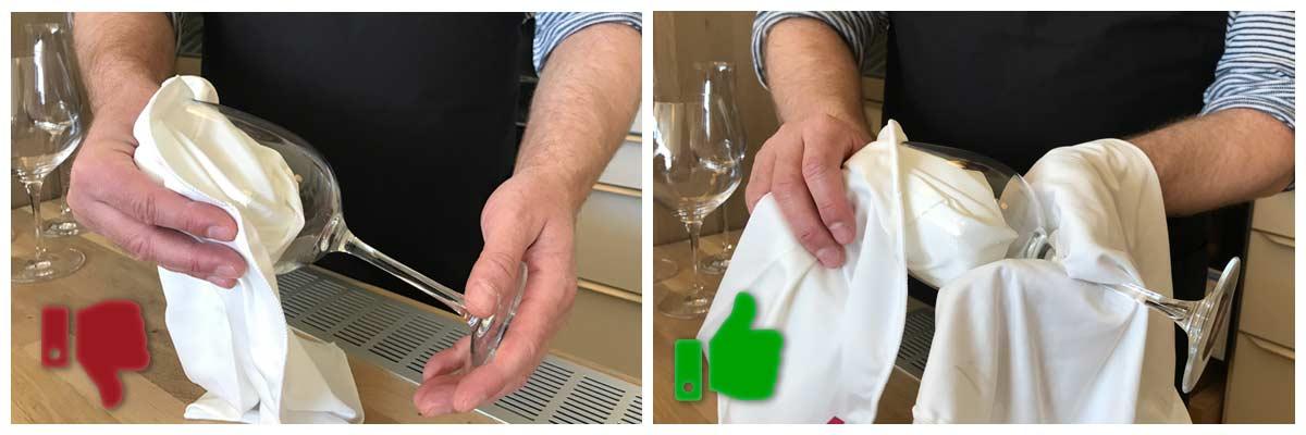 Sådan tørrer du et vinglas - opvask vinglas