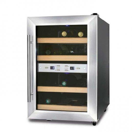 Caso WineDuett vinkøleskab 12 flasker, 2 zoner, Sort/Stål