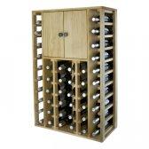 WINEREX vinreol EFREN til 44 flasker + skab i toppen i EGETRÆ