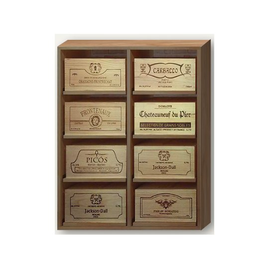 WINEREX vinreol ESTELA til 8 vinkasser (6 stk. kasser) i EGETRÆ
