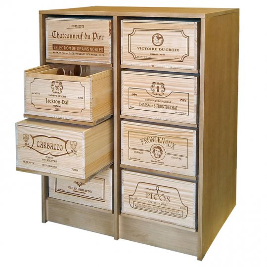 WINEREX vinreol KASANDRA til 8 vinkasser (12 stk. kasser) i EGETRÆ