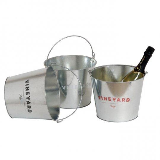 Silver farvet isspand med hvid Vineyard logo