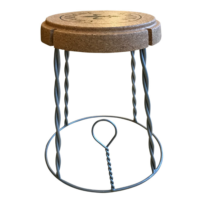 Champagne Cork Table Stool In Cork And Metal Uk Wine Racks
