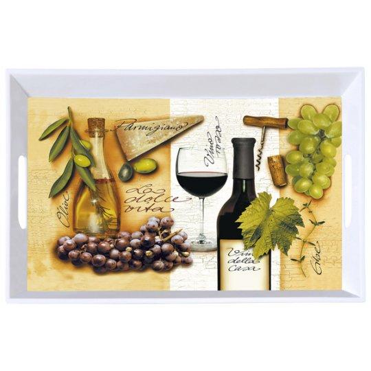 Serveringsbakke med vinmotiv