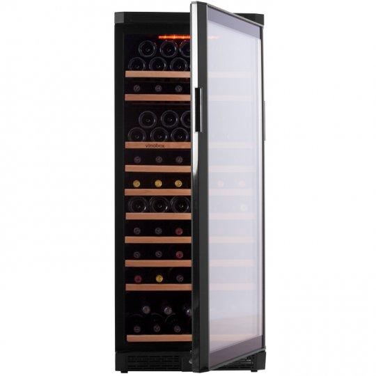vinkøleskab Vinobox 110-130 flasker 1 kølezone, sort front og sorte sider