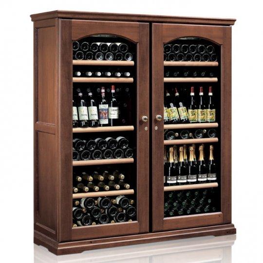vinkøleskab i Massiv Valnøddetræ 224 flasker, 2 kølezoner, 2 døre