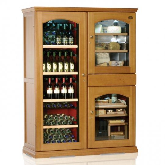 vinkøleskab i Massiv EGETRÆ 238 flasker, 3 kølezoner, 3 døre