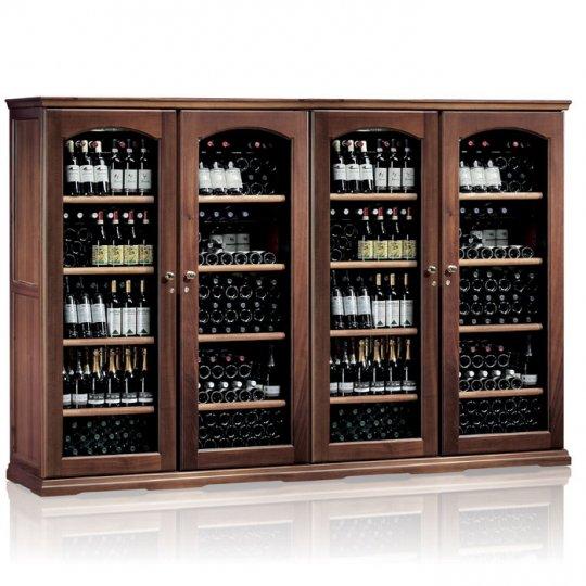 vinkøleskab i Massiv Valnøddetræ 552 flasker, 4 kølezoner, 4 døre