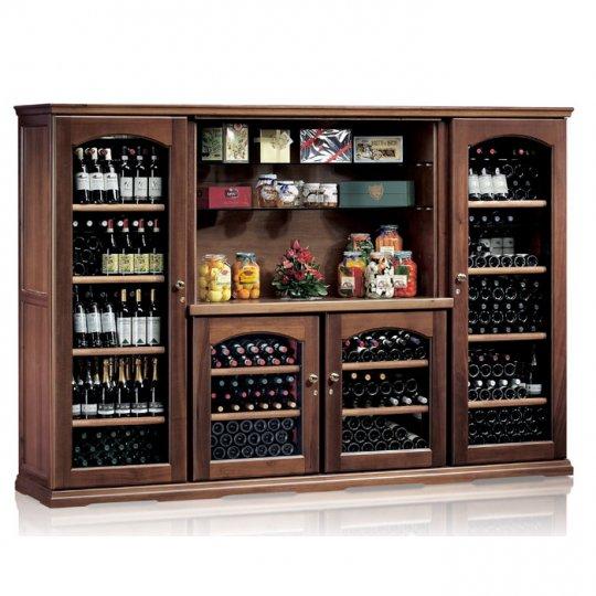 vinkøleskab i Massiv Valnøddetræ 376 flasker, 4 kølezoner, 4 døre