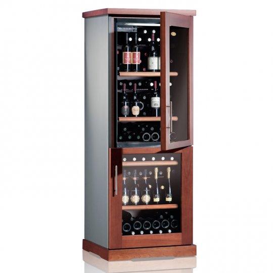 vinkøleskab i Massiv Kirsebærtræ 72/56 flasker, 2 kølezoner, 2 døre, 2-farvet