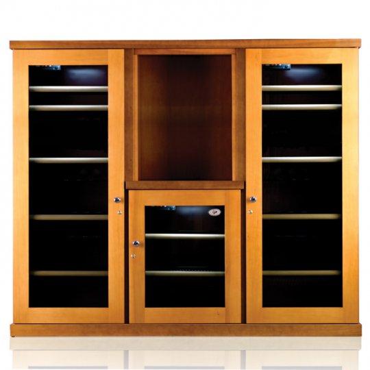 vinkøleskab i Massiv Bøgetræ/Antracit 326 flasker, 3 kølezoner, 3 døre, 2-farvet
