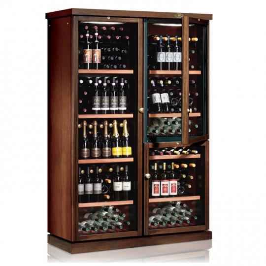 vinkøleskab i Massiv Valnøddetræ 272 flasker, 3 kølezone